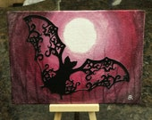 Creatures of the night - die cut black glitter, original design bat on moonlit night painting
