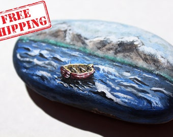 Lonely Red Boat on Seascape // Painted Stone / Rock Art / Ocean / Peaceful / Nature / Landscape / Beauty