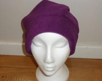 Purple Polar Fleece Slouchy Hat - Beanie Hat - Slouch Hat - Winter Hat - Fleece Cap - Buff - Winter Headwear - Bobble Hat - Dreadlocks