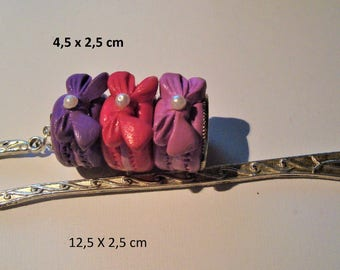 Bookmark trio of macarons in polymer clay-cakes Parisian filled strawberry, raspberry