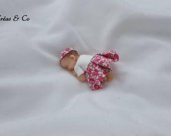 Baby girl fabric and polymer clay figurine
