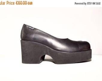 Weekend25%OFF Vtg Leather Black Platform Shoes
