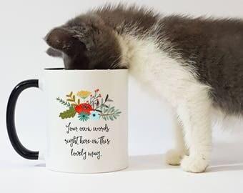 Custom Mug / Custom Gift / Gift for Friend / Floral Mug / Black Handle Mug / Bridesmaid Gift / 11 or 15 oz. Mug