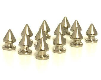 SILVER Tree Spikes 12mm / Metal Spikes / Studs and Spikes /  Tree Spikes / 12mm Spikes / Screw in Spikes / SET  of TWELVE