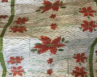 "55"" x 72"" Paper Tablecloth, Vintage Christmas Paper / Plastic Tablecloth for the Holidays"