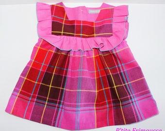 Tunic, top spring summer girl 3 years, madras shades pink, pretty ruffle fabric.