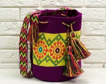 Crocheted Multi-Colored Mochila wayuu tecnique tapestry traditional native crossbody bag,crossbody sac boho bag-ASF2