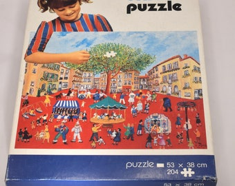 Vintage UNICEF Jigsaw Puzzle Festival In Orange Paris 204 pcs 1980s