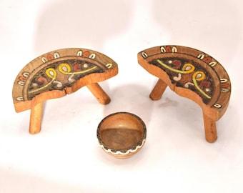 Bulgarian folklore wooden decorative souvenirs 1970s