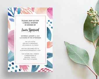 Watercolor Floral Shower Invites / Tropical Coral Blue / Calligraphy / Semi-Custom Party Bridal Shower Invites / Print-at-Home Invitations