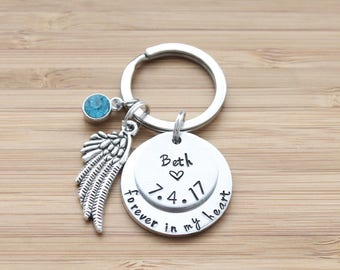 hand stamped keychain | two layer - forever in my heart
