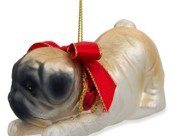 """3.75"""" (L) Pug Dog with Bow Blown Glass Christmas Ornament"""