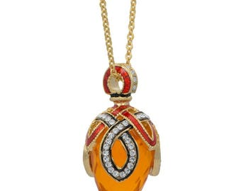 Yellow Stone Crystal Loop Royal Egg Pendant Necklace 22""