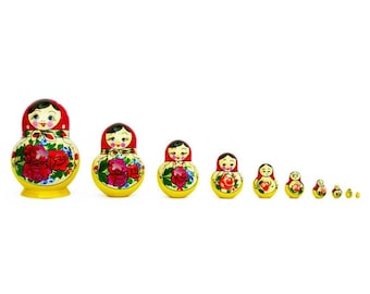 "6"" Set of 10 Bouquet of Flowers Russian Nesting Dolls"