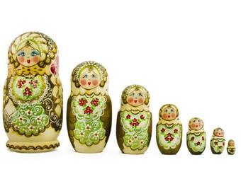 """7 pcs/ 8"""" Large Zhenka Russian Nesting Dolls"""