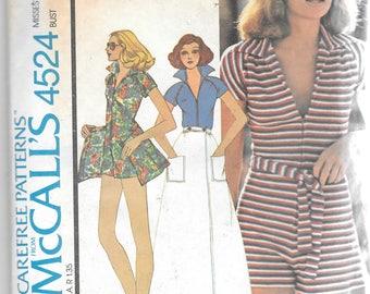 Vintage McCalls 4524 Misses Romper Jumpsuit Front Wrap Skirt Sewing Pattern Size 10 Bust 32 1/2