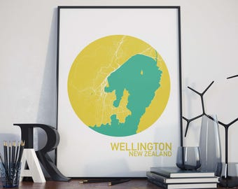Wellington, New Zealand City Map Print