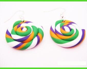 Earrings spiral lollipop - fimo polymer ♥ ♥