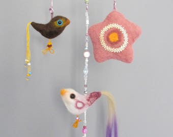 Natural wool mobile with birds and a star,  Hand made ecological felt mobile with birds.