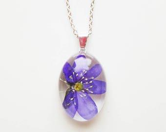 May Song real dried liverworth flower rectangle necklace in bio resin and sterlingsilver