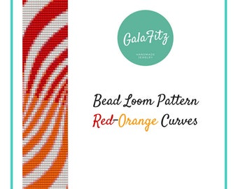 Striped bracelet pattern, Red-Orange bead loom pattern, Loom beading pattern for bracelet