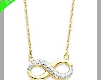 Infinity Love Necklace In 14k Yellow & White Gold Now On Sale