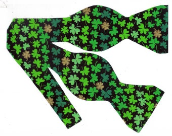 Hint of Gold in Clover Self-tie Bow Tie | Shamrock bow ties | St Patrick's Day bow ties | Green bow ties | bow ties for men | Last one!