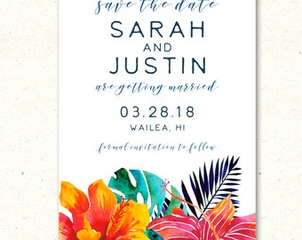 Beach Save the Date, Tropical Save the Date, Destination Wedding Save the Date, Tropical Save the Date, Beach Wedding Save the Date, Modern