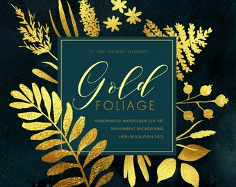 Gold foliage clipart - Instant Download - 12 pieces