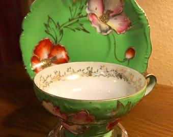 Vintage SAJI Occupied Japan Fancy China Tea-Cup and Saucer Set
