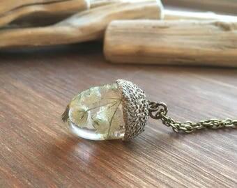 Acorn necklace-babies breath acorn-resin jewelry-acorn jewelry-glitter acorn-acorn pendant-forest jewelry-nature jewelry