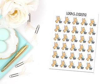 Grocery Cart Corgi Planner Stickers