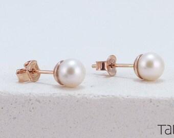 Pearl Gold Earrings, Pearl Stud Earrings, White Pearl Earrings, 14k Solid Gold, Delicate Jewelry, Gold Stud Earrings, Mother's Day Gift
