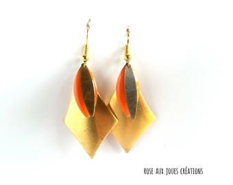 Graphic earrings gold and orange