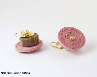 Pink suede and wood earrings