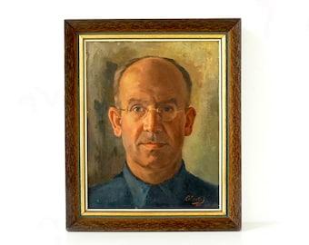 Vintage 1940's Portrait - Self Portrait - Original Oil Painting - Signed & Dated 1944 - Original Frame - Male Portrait