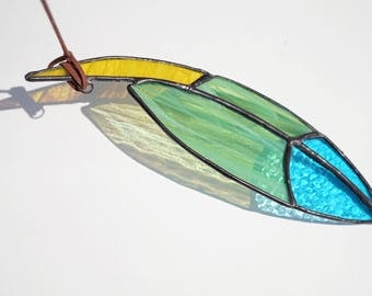 Stained glass feather, stained glass suncatcher, blue and green feather suncatcher, blue glass feather suncatcher, small stained glass