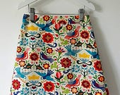 Girls skirt Aline skirt retro skirt vintage inspired skirt bird skirt flower skirt girls clothes girls clothing blue skirt