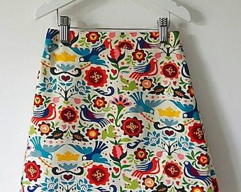 Girls skirt, A-line skirt, retro skirt, vintage inspired skirt, bird skirt, flower skirt, girls clothes, girls clothing, blue skirt