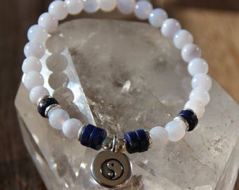 chalcedony and yin yang charm bracelet beads