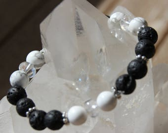 Bracelet quartz, howlite and lava rock