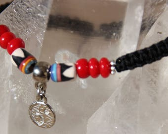 wire nylon bamboo coral Bead Bracelet