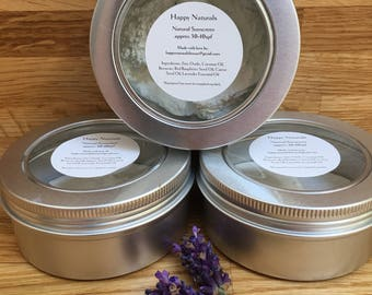 Homemade sunscreen spf 30-40 lavender. All natural ingredients. Chemical free.