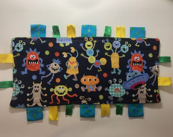 Handmade Sensory Ribbon or Tag Blanket - Monsters and Aliens