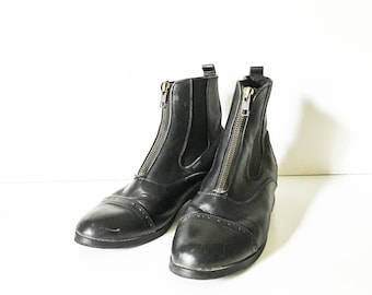 Leather ankle boots - Leather riding boots - Black riding boots - Leather Chelsea boots 7.5 - Hipster boots - Boho boots