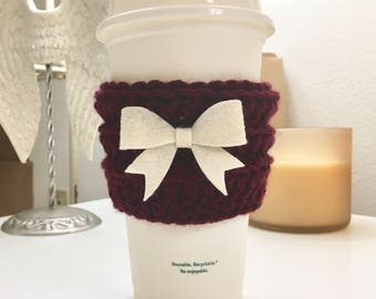 The Cute Cozy in Merlot with Cream Bow