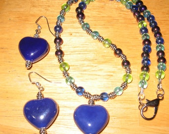 Handcrafted Heart Necklace With Earrings..Lovey Beads