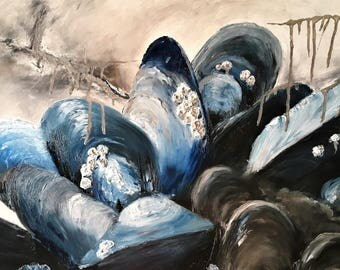 Big Mussels, Original Mussel Oil Painting on Canvas