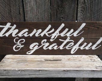 Thankful and Grateful Rustic Farmhouse Autumn Sign, Wood Decor Wall Art