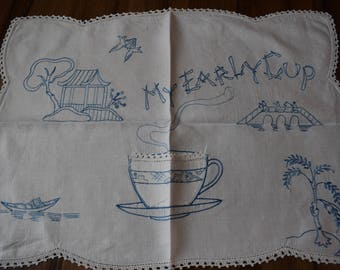 Vintage Blue and White Embroidered Tray Cloth/Doily